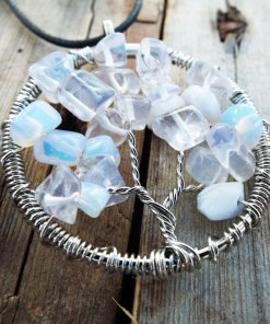 Tree Pendant Tree of Life Opalite Opal Silver Symbol Gemstone Handmade Necklace Jewelry