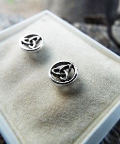 Triquetra Earrings Silver Studs Sterling 925 Symbol Celtic Gothic Handmade Dark Jewelry
