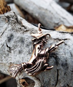 Witch Pendant Broomstick Necklace Handmade Wiccan Wicca Gothic Dark Magic Fly Symbol Bronze Jewelry