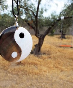 Yin Yang Pendant Handmade Abalone Necklace Chinese Asian Symbol Jewelry Good and Evil
