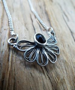 Onyx Pendant Silver Flower Handmade Necklace Sterling 925 Gemstone Black Gothic Dark Antique Vintage Jewelry