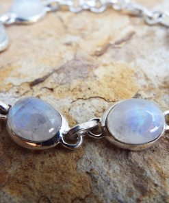 Moonstone Bracelet Silver Cuff Dangle Chain Sterling 925 Handmade Gemstone Gothic Dark Antique Vintage Jewelry