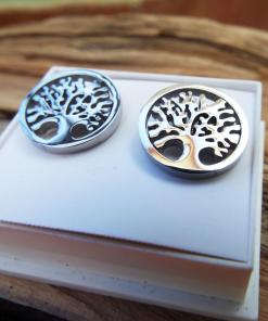 Tree of Life Earrings Studs Silver Celtic Tree Symbol Stainless Steel Handmade Jewelry Nature