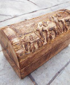 Elephant Box Indian Balinese Hindu Ganesha Mango Tree Wood Handmade Carved Animal Symbol Trinket Jewelry Chest