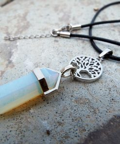 Pendulum Opalite Pendant Tree of Life Gemstone Pointer Silver Necklace Handmade Jewelry
