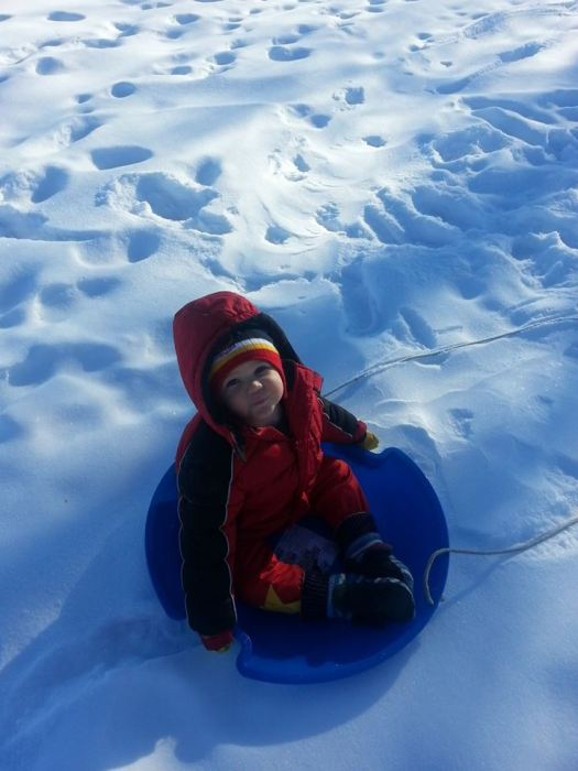 Oliver got to go sledding several times