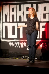 Lauren on stage at Make Web Not War 2011