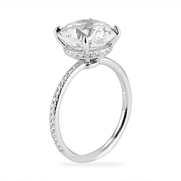 Lepozzi 330 CT Cushion Cut Pave Platinum Engagement Ring