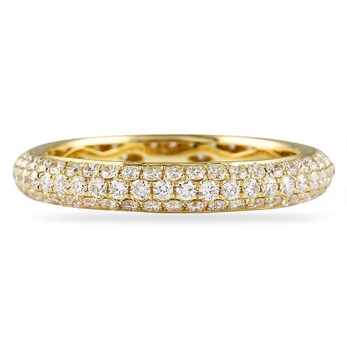 100 CT ROUND DIAMOND YELLOW GOLD ETERNITY BAND