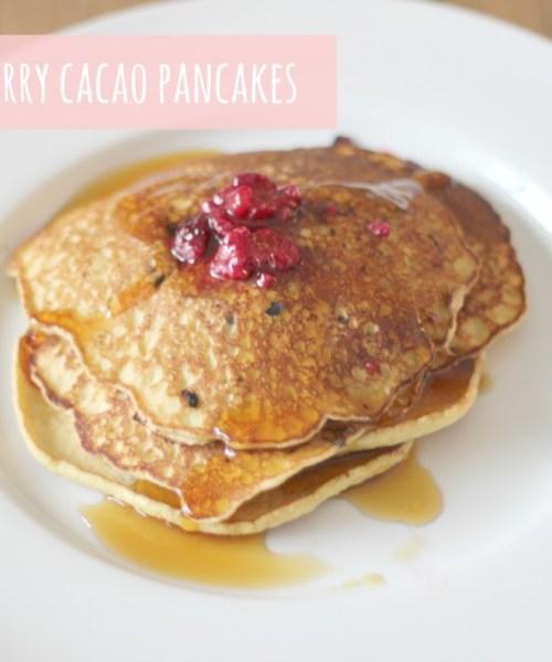 Paleo Raspberry Cacao Pancakes