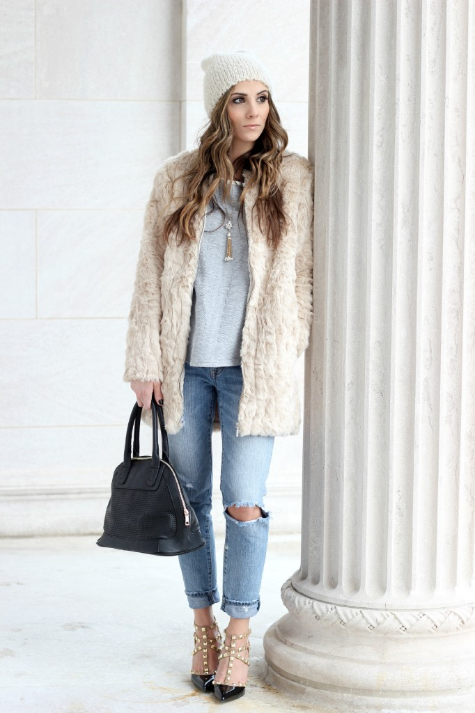Valentino Rockstud knock-offs, Fur jacket, boyfriend jeans