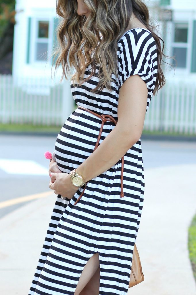Liz and Honey Sabra Maxi Dress, Maternity Style, The Silver Wren, Gold and Gray