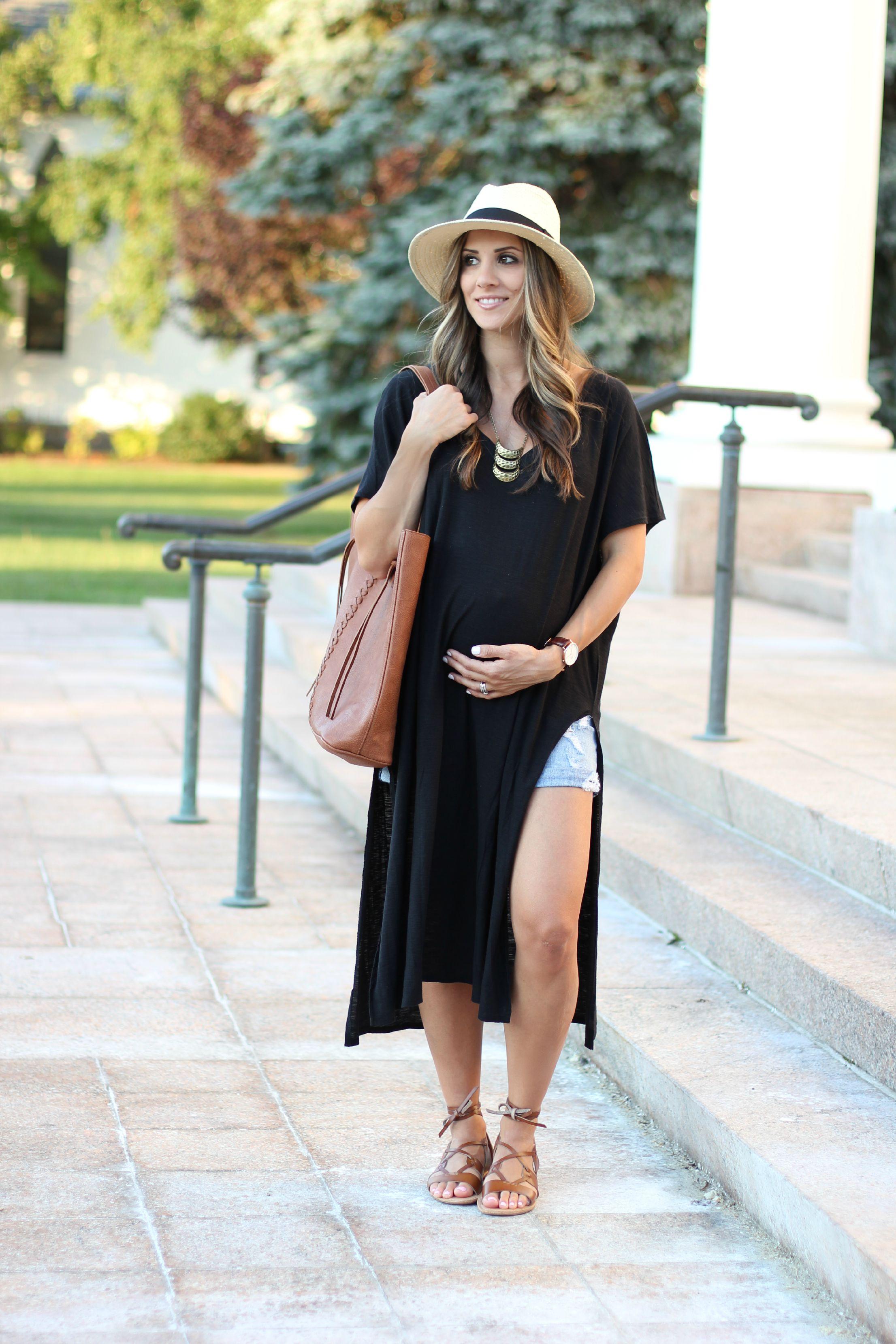 maternity style      high side slit maxi dress