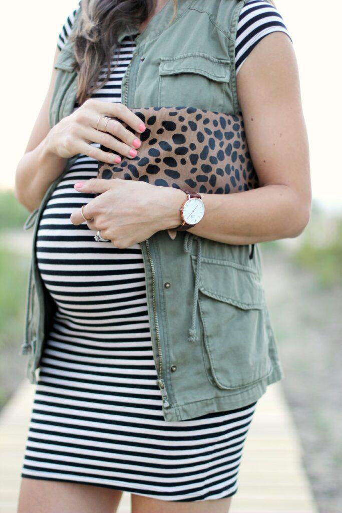 Maternity style, Striped Dress, Leopard Clutch, Cargo Vest