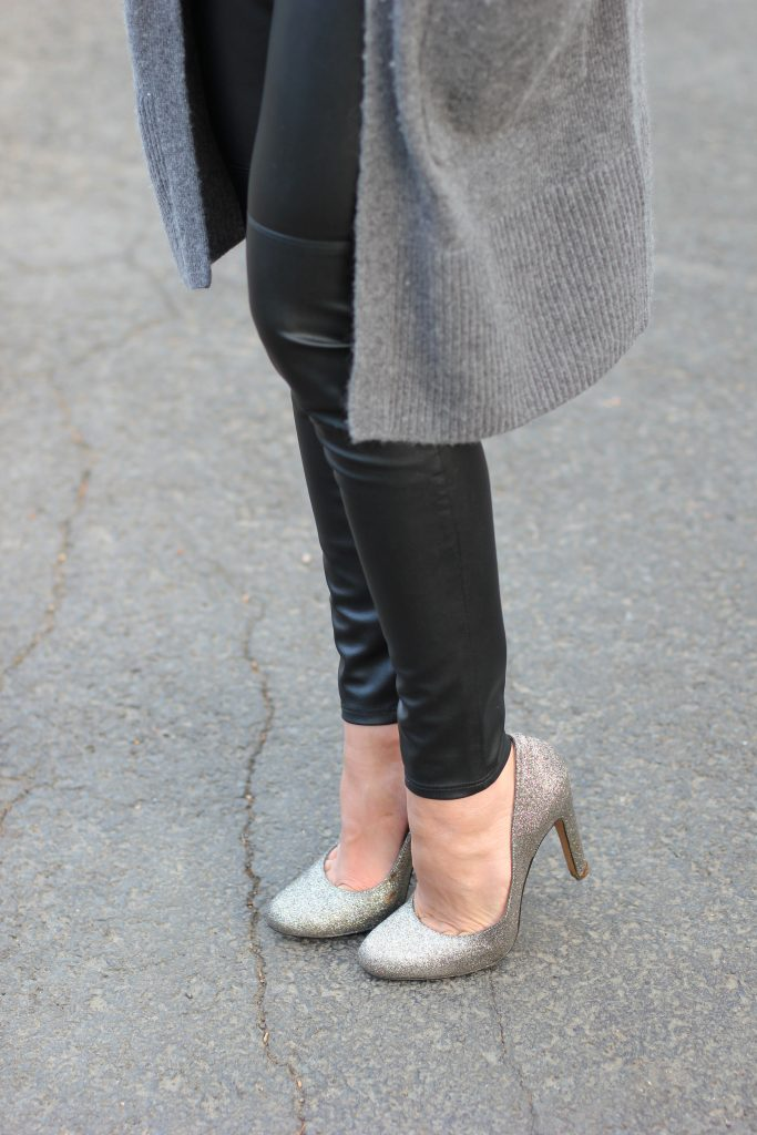 Festive holiday attire with Bailey 44 Lou Leggings and Becall Cardigan, topped with some glittered heels.