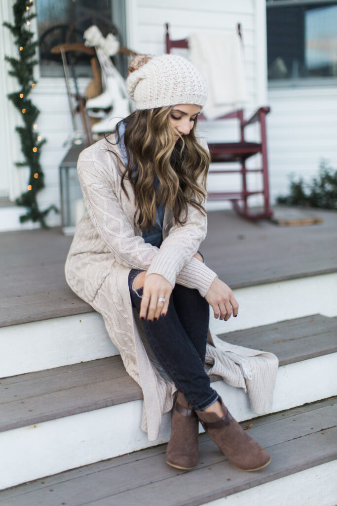 Lulu's maxi cardigan with distressed jeans, a chambray top, and booties makes for the perfect cozy winter style.