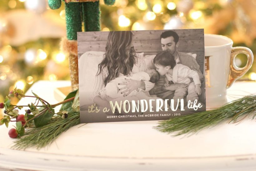 Life is Wonderful foil-pressed holiday card by Minted