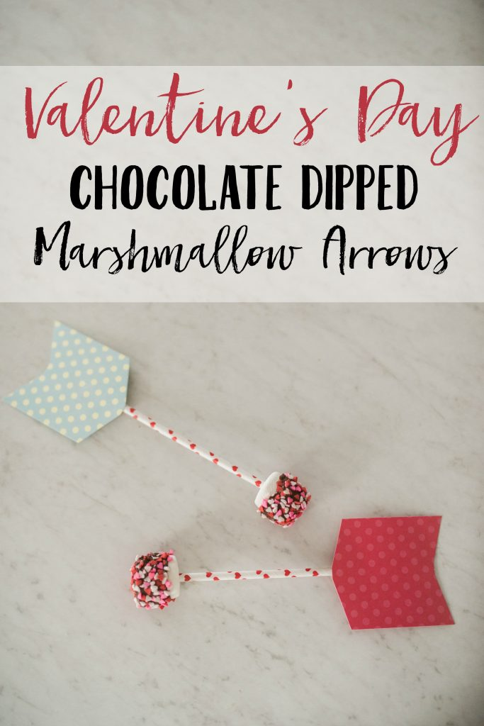 Valentine's Day Chocolate Dipped Marshmallow Arrow Treats with printable target gift tags