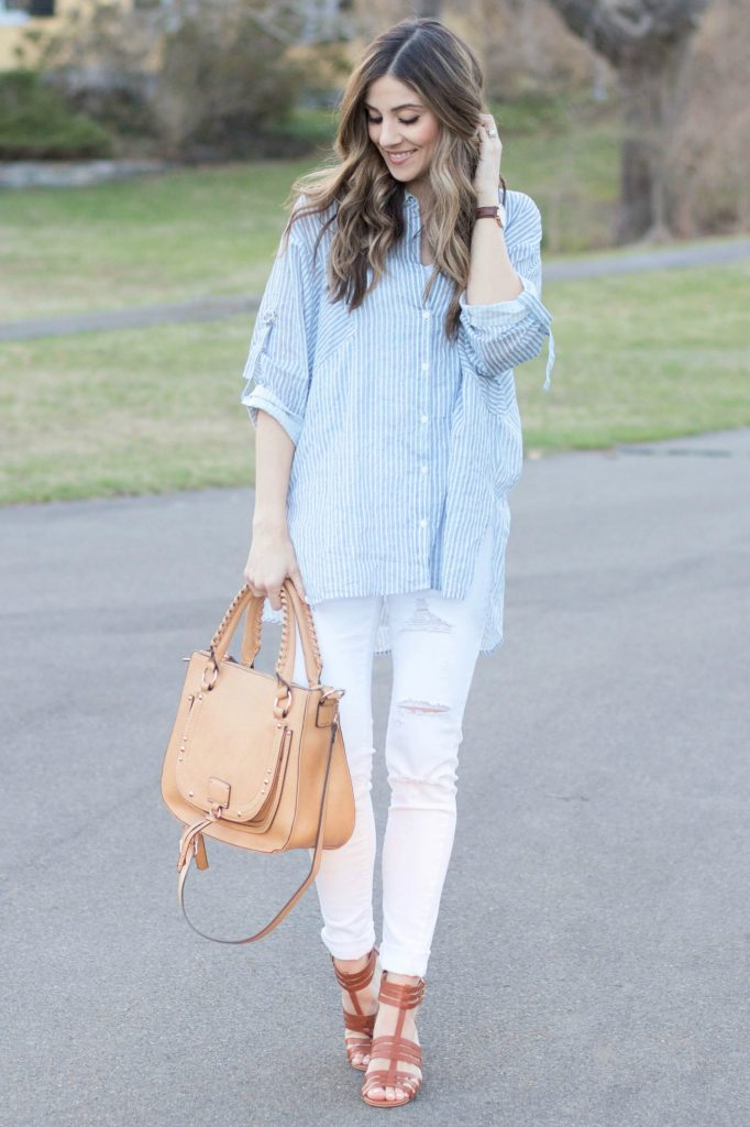 Lauren McBride - Casual ILY Couture striped button down with distressed white skinny jeans and chunky Sole Society heels for a chic spring look.
