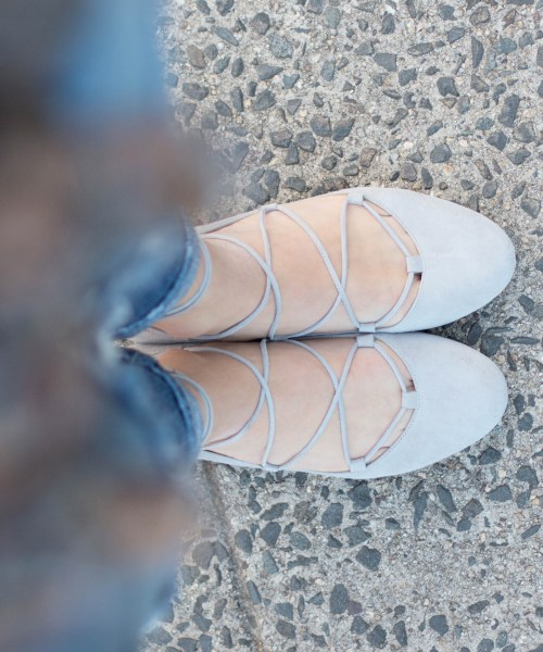 Style // Gray Lace-up Flats