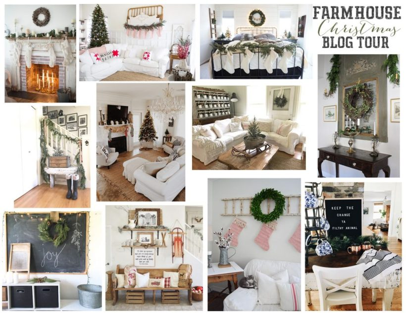 A simple and rustic farmhouse inspired living room featuring a mixture of textures and vintage finds!