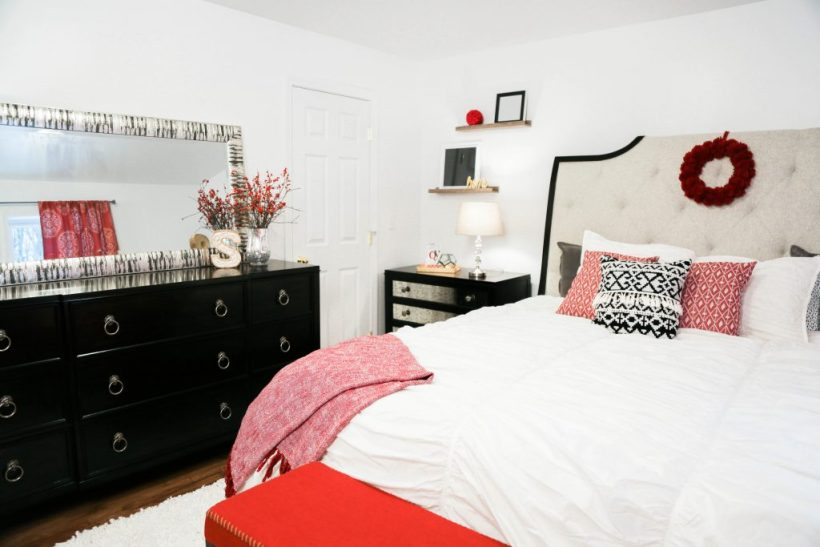 Bloggers Heart Habitat partner with Habitat for Humanity of Eastern Connecticut to design a glamorous master bedroom featuring red, white, and black decor.