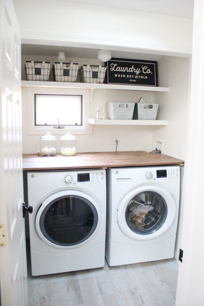 A budget-friendly farmhouse laundry room that's small, yet makes a large  impact.