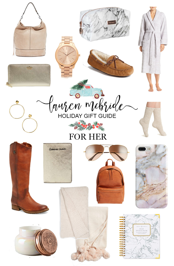 Life and style blogger Lauren McBride shares her Holiday Gift Guide For Her, including a variety of items with various price points. Perfect for any woman!