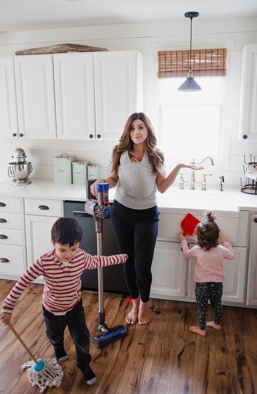 Life and style blogger Lauren McBride shares her cleaning routine as a new family of five, and some tips and tricks that help her maintain the home.