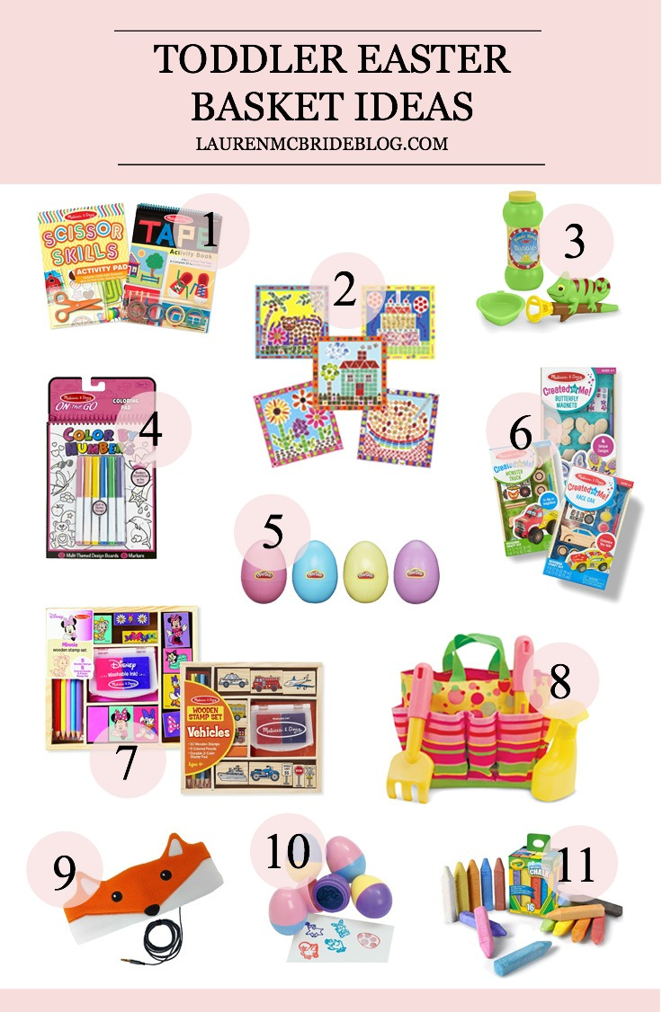Life and style blogger Lauren McBride shares her Easter Basket Gift Ideas for Toddlers and Babies which are filled with stimulating items and no candy.