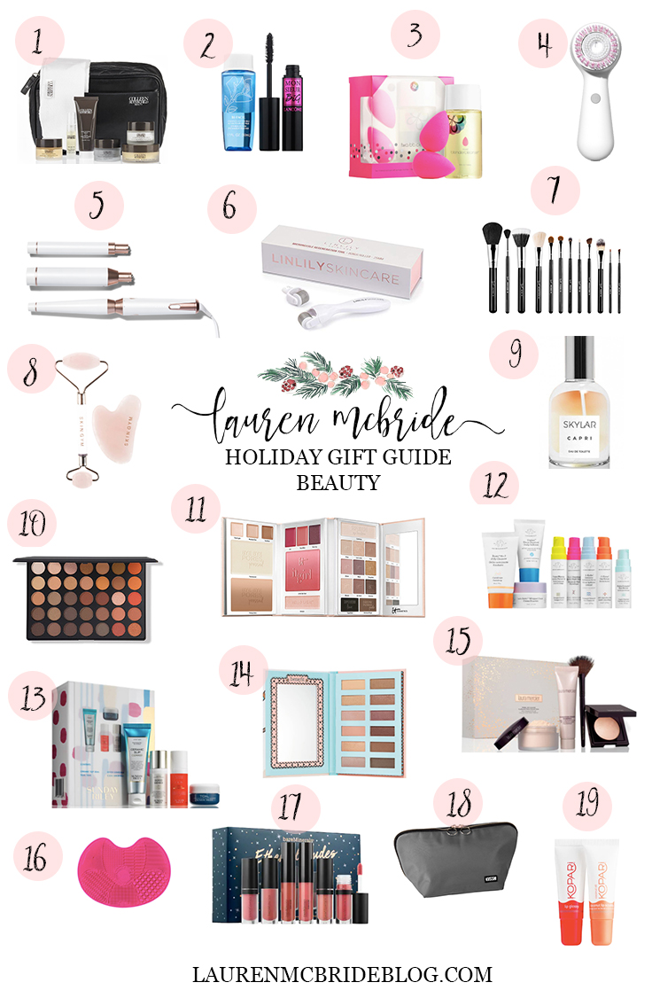 Connecticut life and style blogger Lauren McBride shares a holiday gift guide for the beauty lover, including a wide variety of beauty products and price ranges.