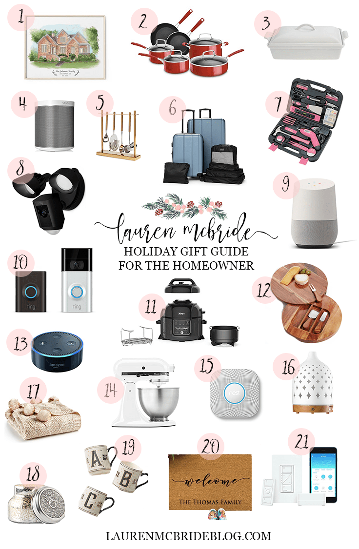Connecticut life and style blogger Lauren McBride shares a holiday gift guide for homeowners featuring a wide variety of items and price points perfect for someone who owns a home.