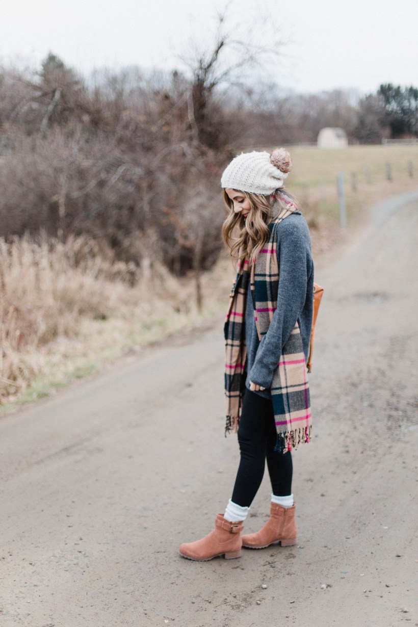 Connecticut life and style blogger Lauren McBride shares how to style low cut booties with socks for the fall and winter seasons.