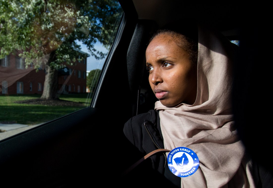 Amren Youssouf during a Muslim get-out-the-vote effort during the 2016 Presidential Election, Columbus, Ohio, 2016.