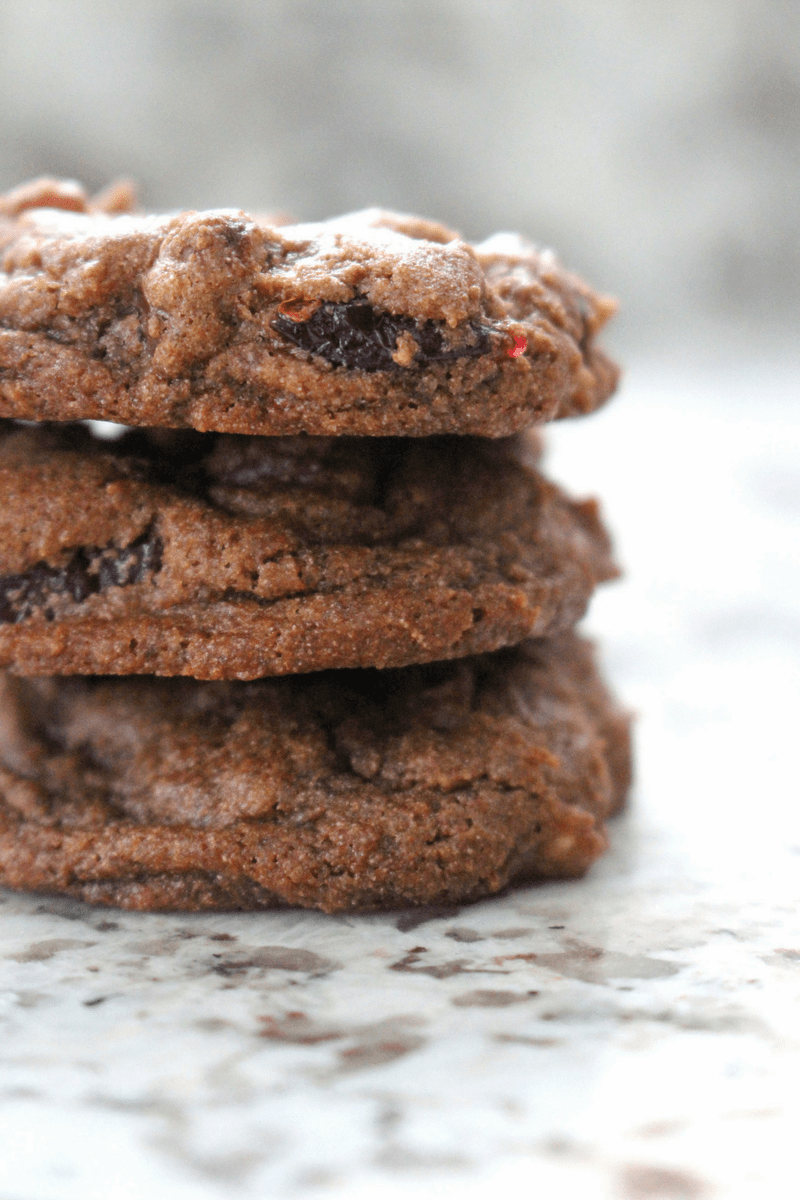 low fodmap double chocolate cranberry pecan cookies