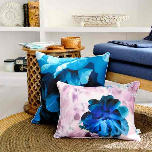 Parrot Tulip and Shimmer Rose Linen Cushions