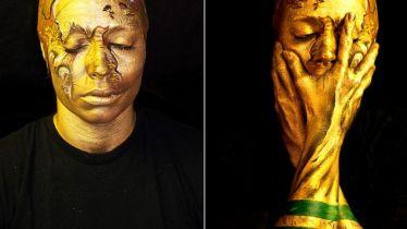 Die Künstlerin und Bodypainterin Emma Allen verwandelte ihren Kopf in den WM-Pokal. (Quelle: emmallen.org)