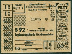 1946: Lebensmittel-Ergänzungskarte für Schwerarbeiter in der britischen Besatzungszone: 62,5g Fett, 50g Fleisch (Scan vom Original: Bernd Schwabe, Hannover)