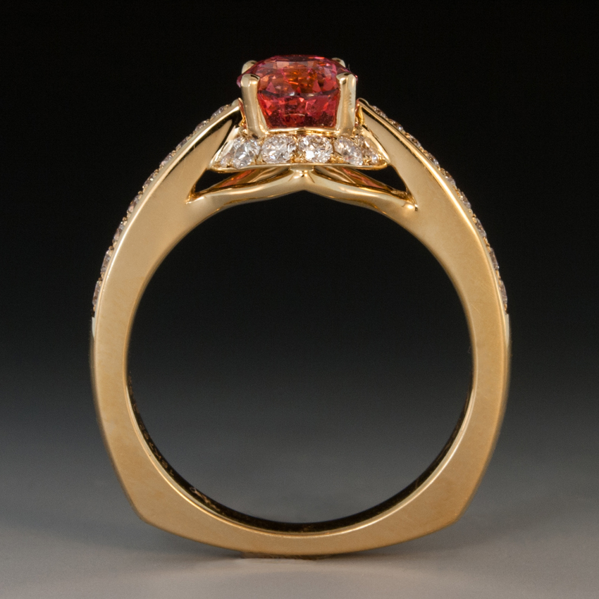 Padparadscha Sapphire Amp Diamond Ring In 18K Yellow Gold