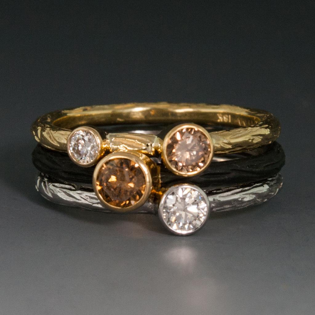 Cobalt Chrome Pebble Stacking Ring WCognac Diamond