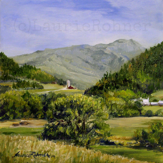 Vermont Oil Painting Original Scenic Landscape Artwork by Laurie Rohner Mt Mansfield