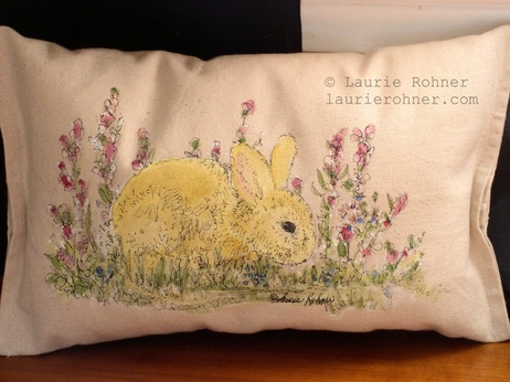Rabbit Bunny Painted Pillow Cottage Farmhouse Painted