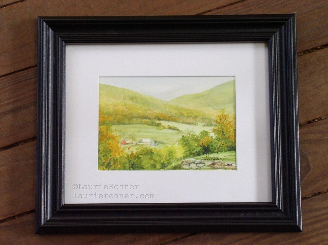 Vermont  Picturesque Scene Landscape Watercolor Nature Art Painting