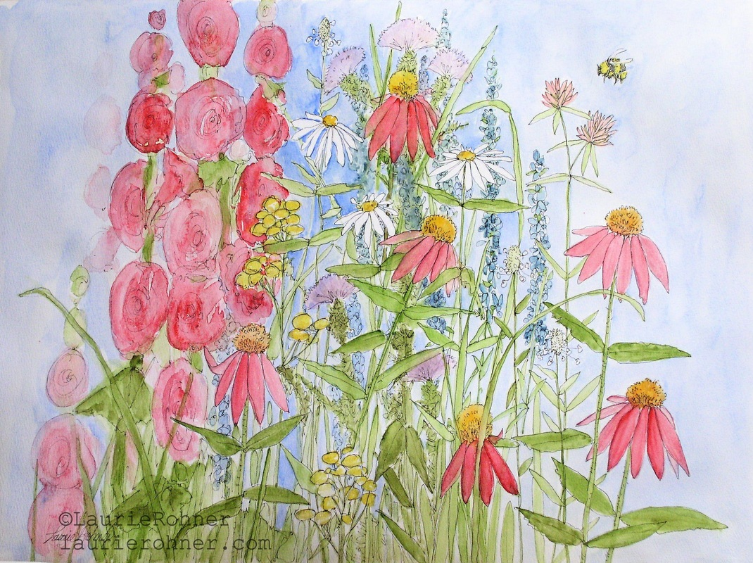 Watercolor Botanical Summer Flowers Sunny Day in the Garden Nature Art