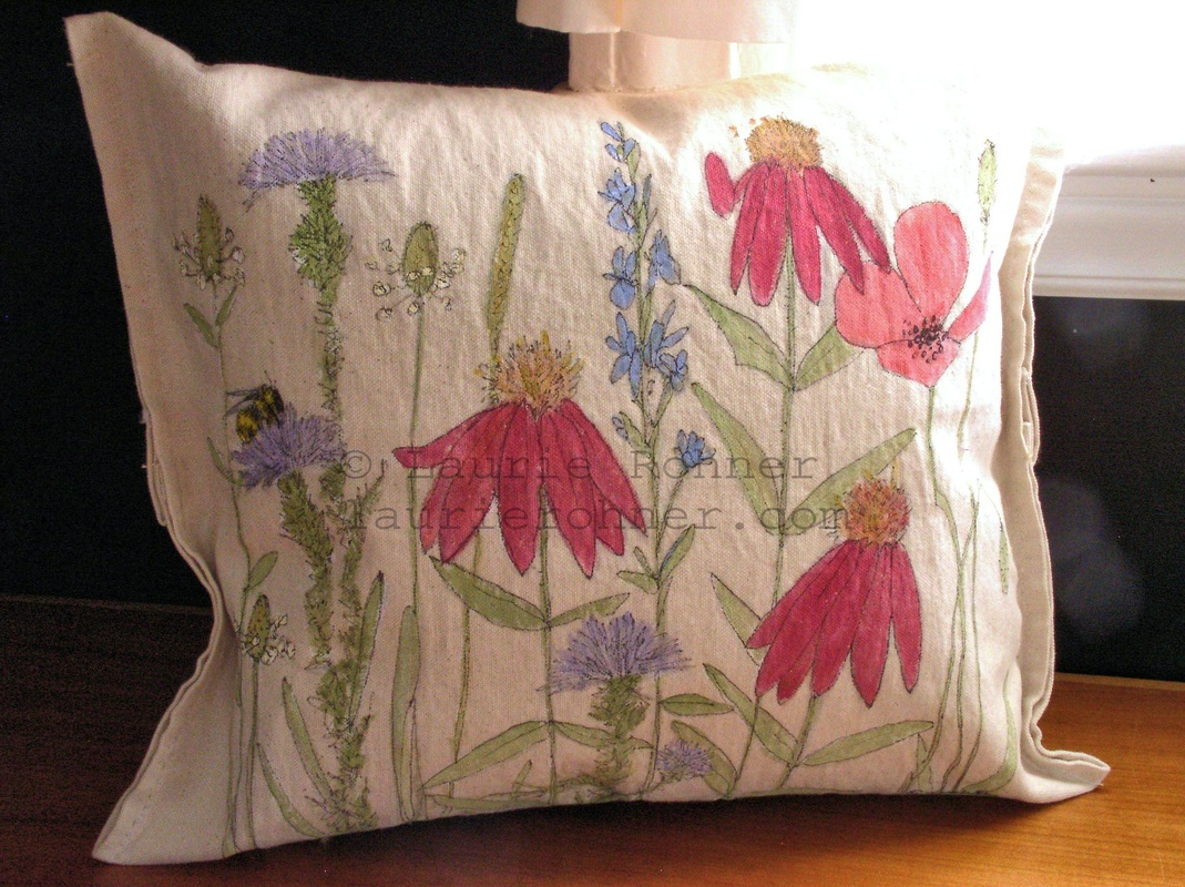 Garden Bunny Hand Painted Pillows