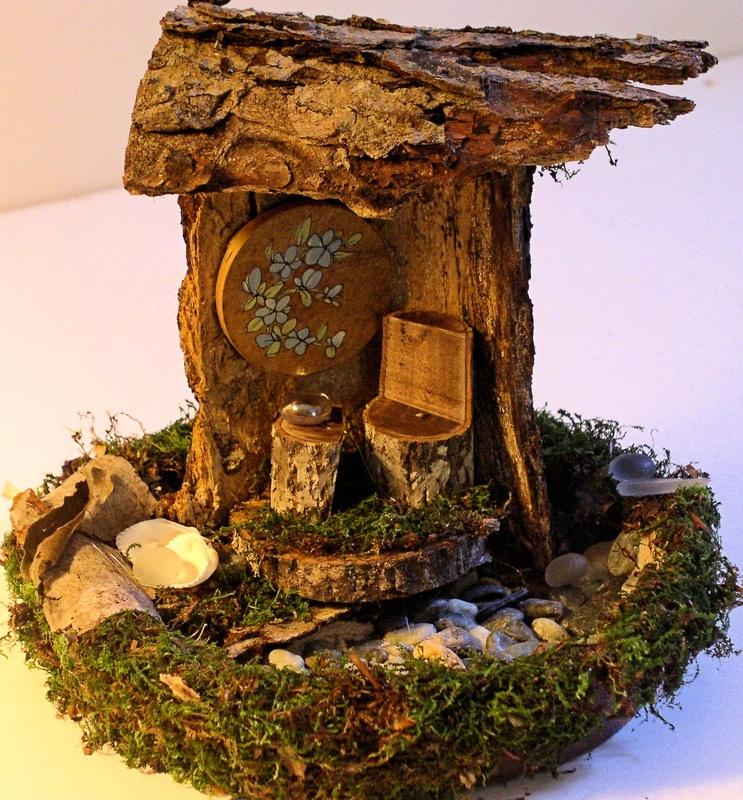 SOLD Woodland Fairy House Handmade Nature Sculpted Art