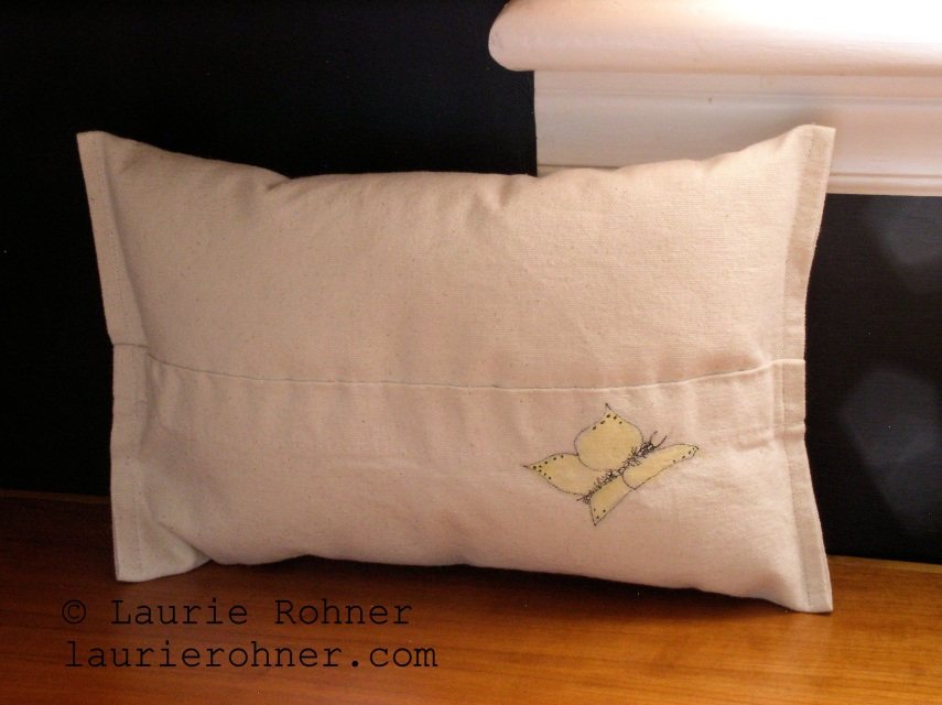 SOLD Pillow Bunny Painted Cottage Rabbit Shabby Chic