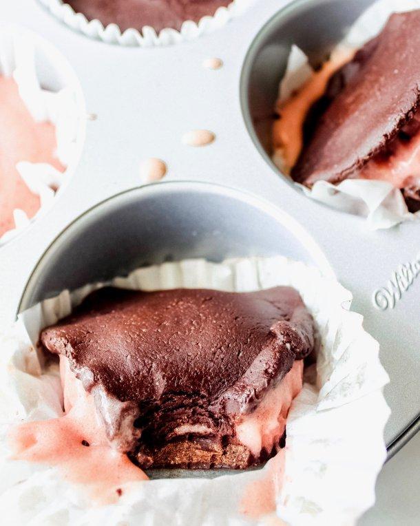 Raw Vegan Brownie Strawberry Ice Cream Sandwiches