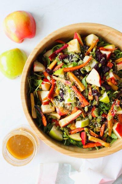 Fall Harvest Roasted Veg Salad w/ Balsamic Maple Dressing [Paleo]