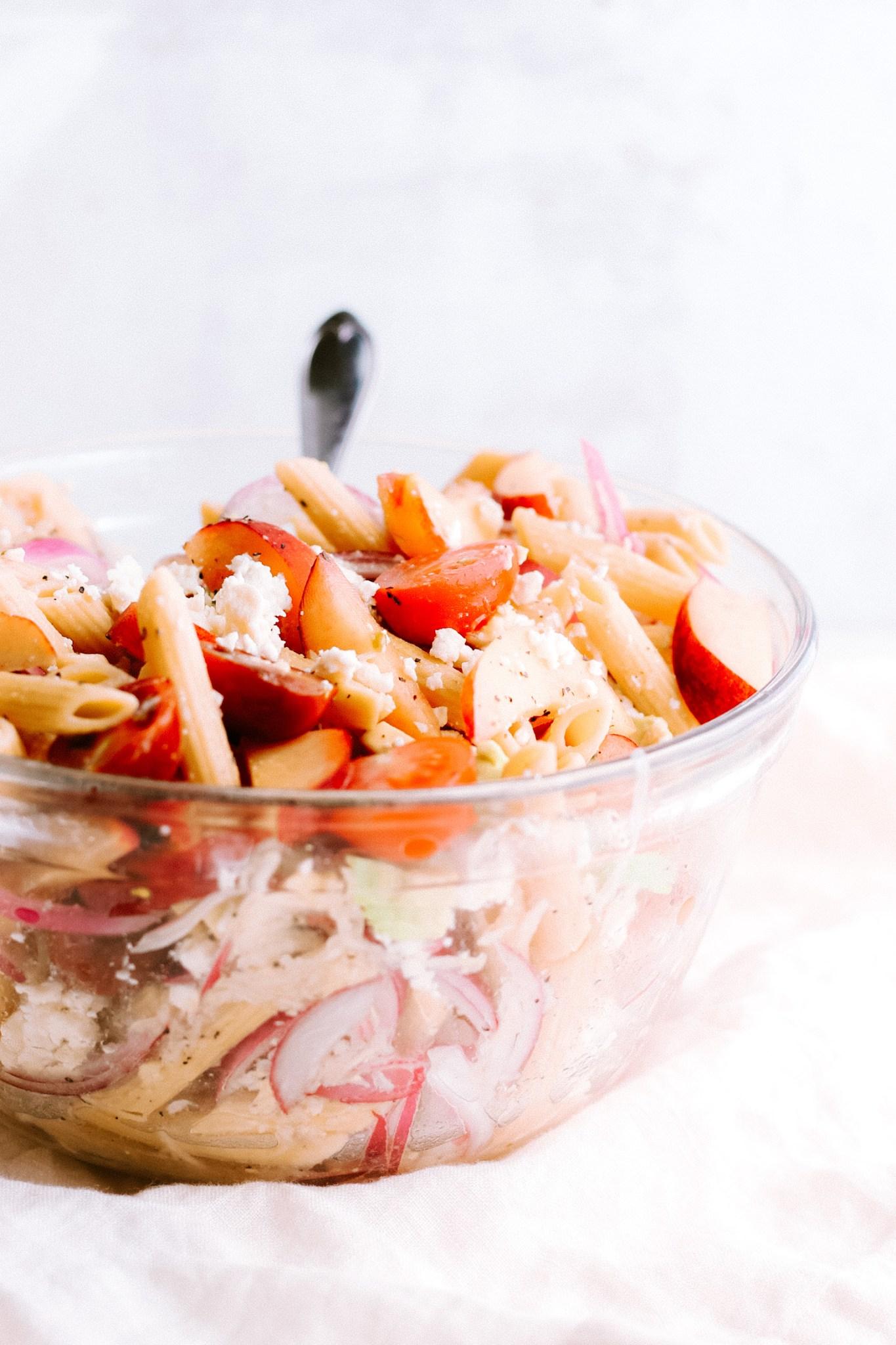 Gluten-Free Peachy Lemon Pasta Salad